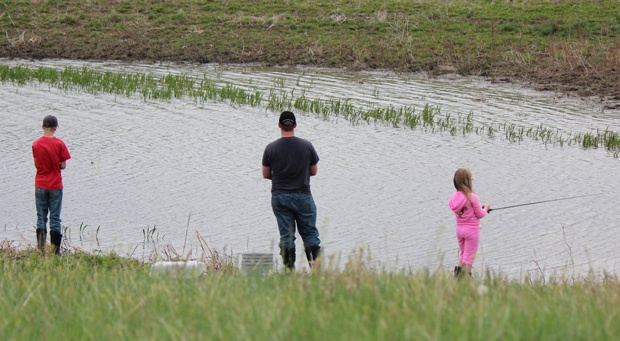 Brad Heltzel fishes with his family.